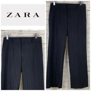 Zara Woman Navy Pinstripe Wide Leg Trousers
